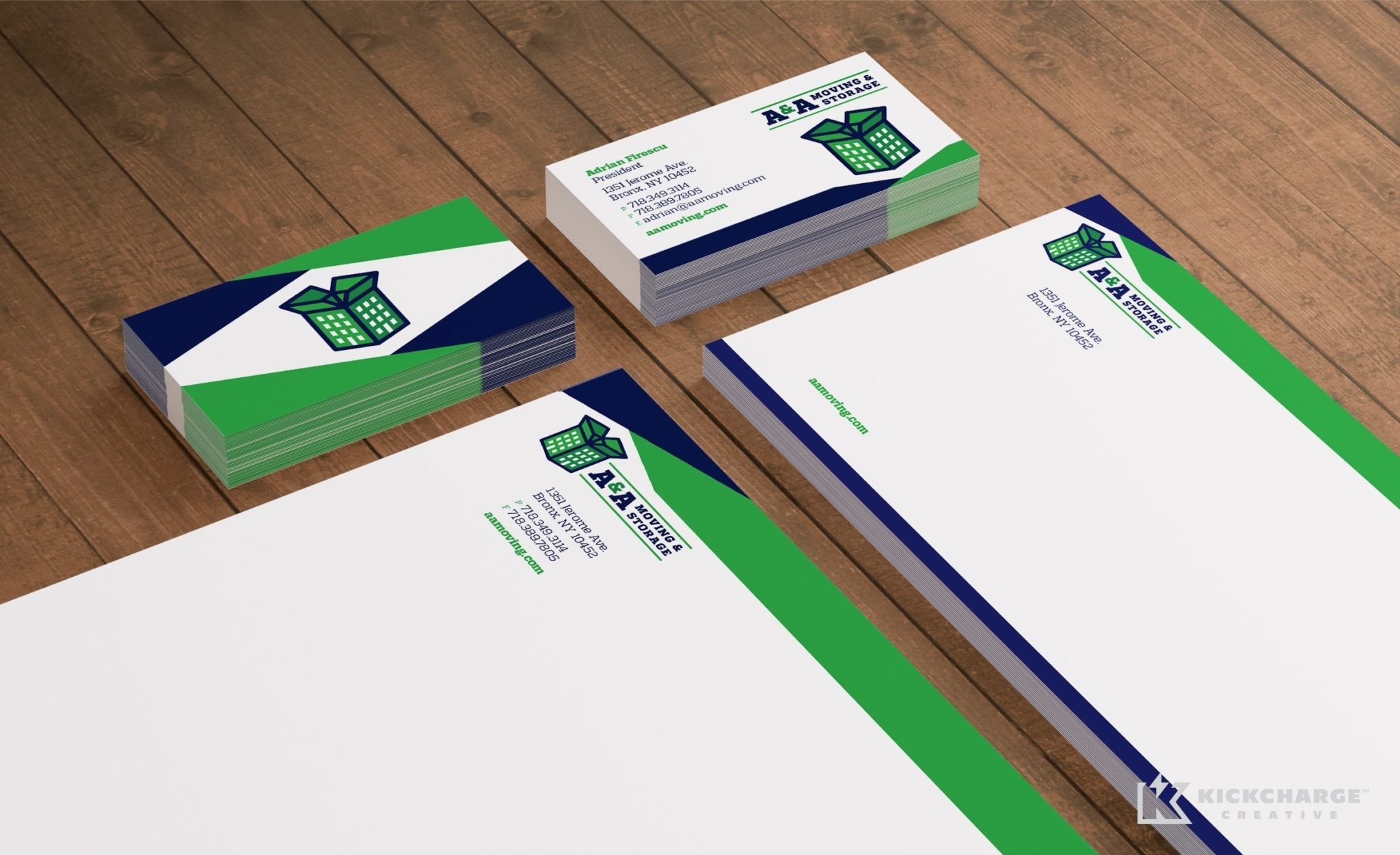 Stationery design for A&A Moving & Storage.