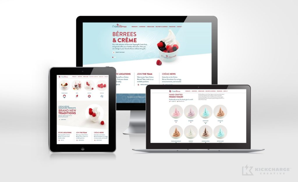 Gourmet frozen yogurt shop website design for Creme Berree, retail store in Garwood, NJ.