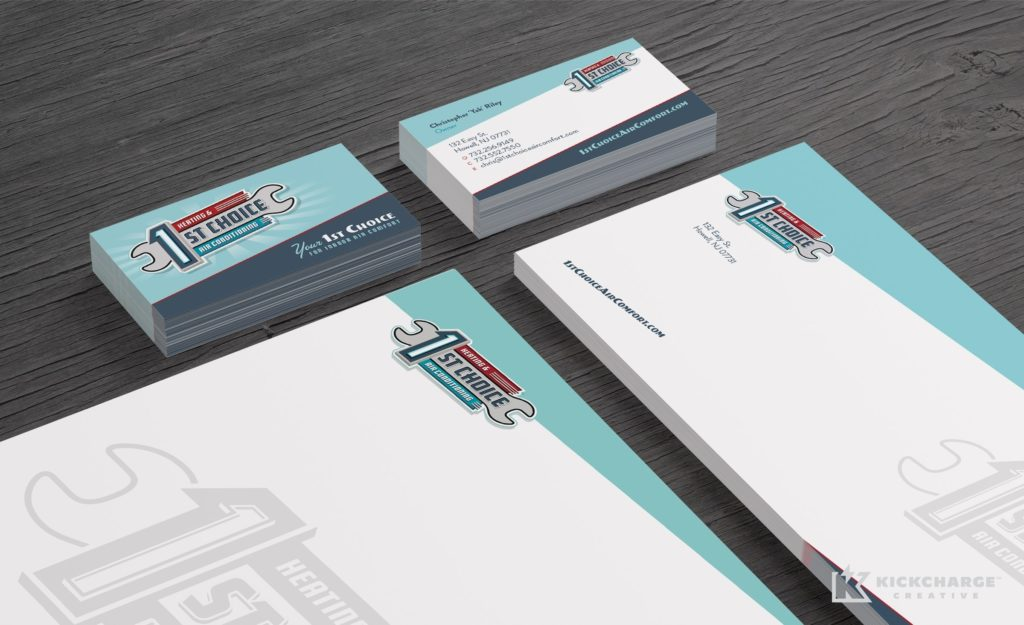 Retro stationery design for a heating and air conditioning company in Howell, NJ.