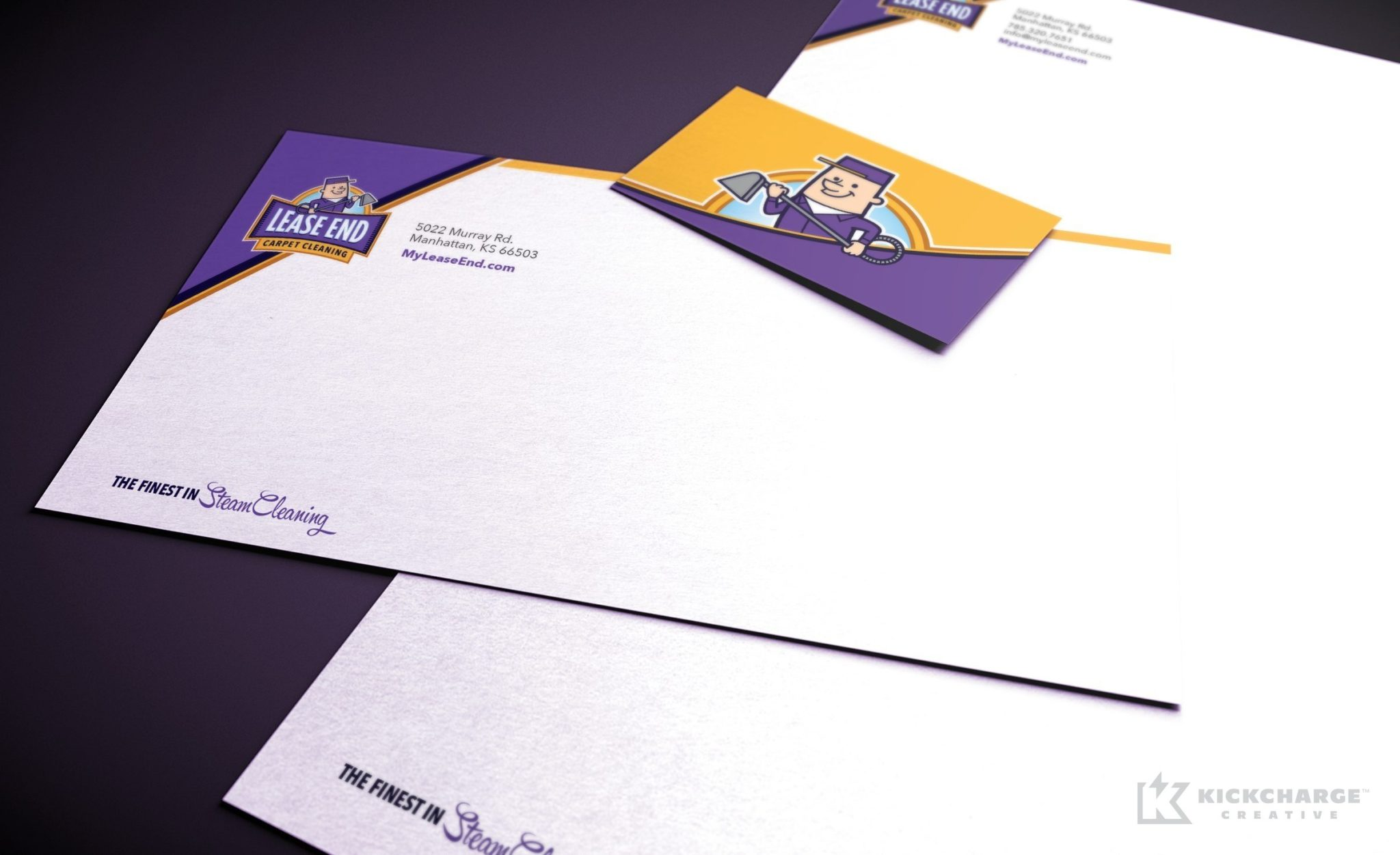 Stationery design for Lease End Carpet Cleaning, a carpet cleaning service company in Kansas.