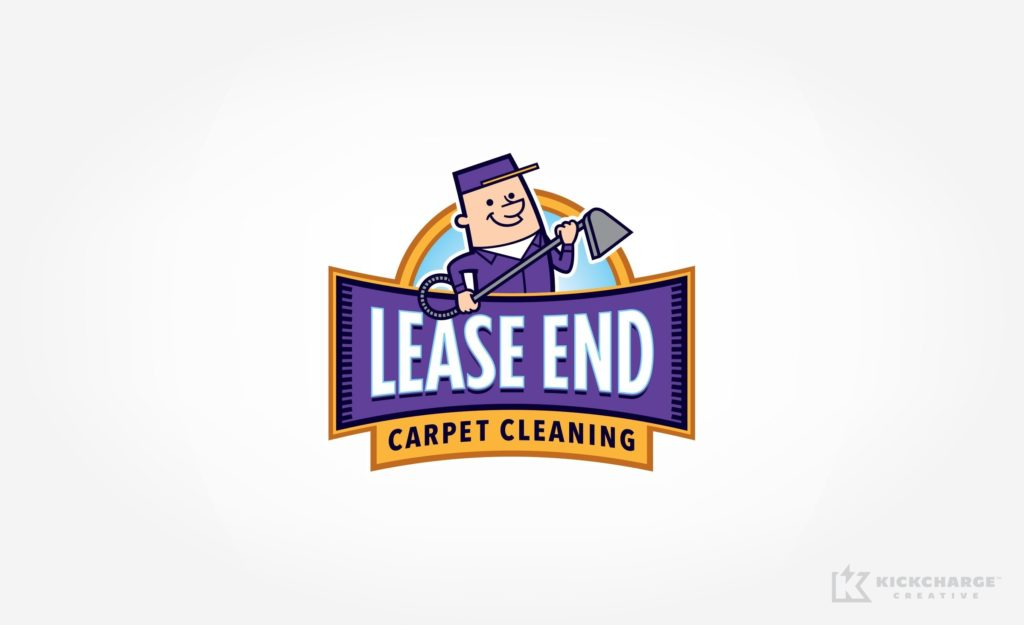Mascot logo design for Lease End Carpet Cleaning, a carpet cleaning service company in Kansas.