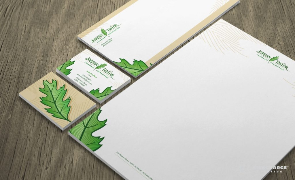 Stationery design for Jordan Taylor Landscape Contractors landscaping contractor in New Jersey.