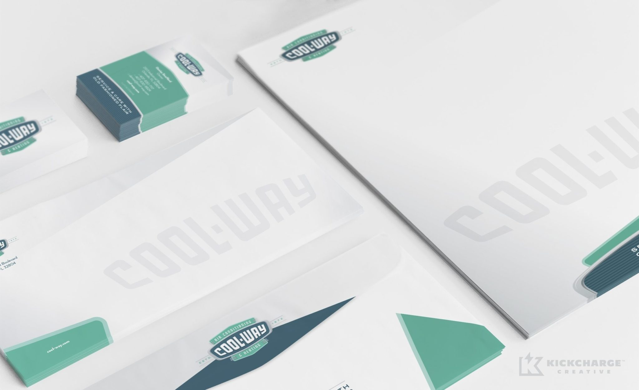 Retro stationery design for Cool-Way Air Conditioning, an HVAC contractor in Florida.