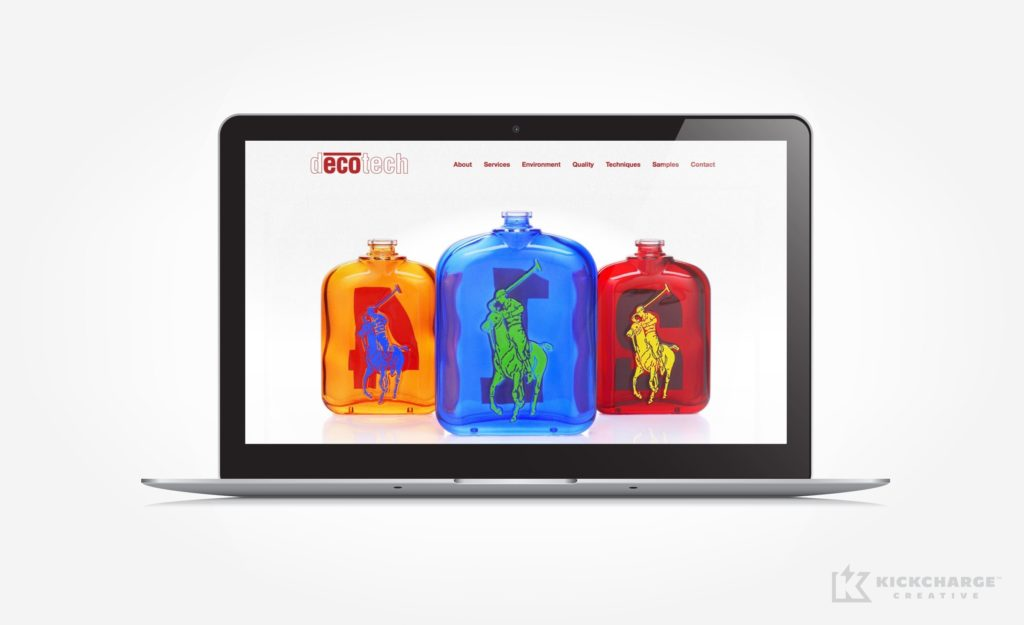 Website design and development for glass bottle and container decoration services in NJ.