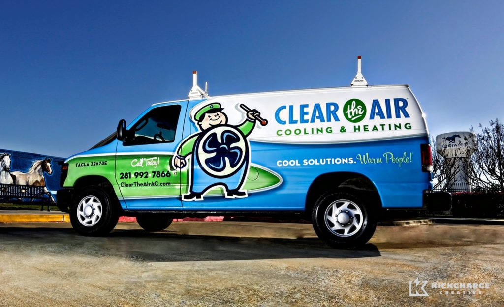 Award-winning truck wrap design for this HVAC contractor in Texas. Winner of 2014 Tops in Trucks Contest from HVACR Magazine and third place winner of the Signs of the Times 9th Annual Graphics Contest for service vehicles.