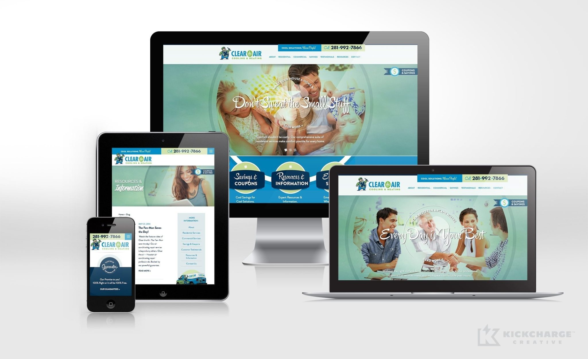 Clear the Air Cooling & Heating Website Design for HVAC company in Texas.
