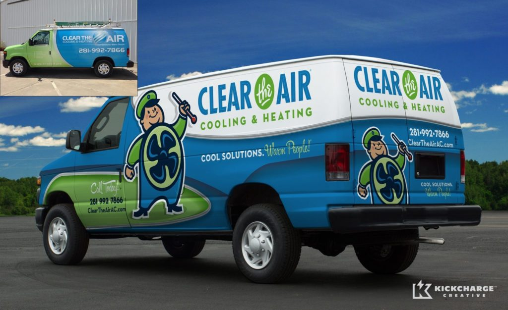 Before and after of a HVAC truck wrap design for this heating and air conditioning contractor. Winner of 2014 Tops in Trucks Contest from HVACR Magazine.