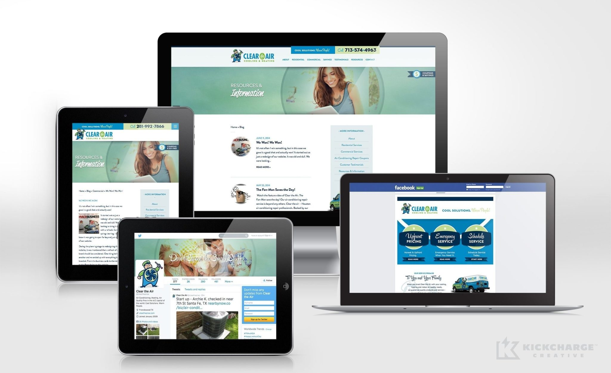 Social media design and management for Clear the Air Cooling & Heating.