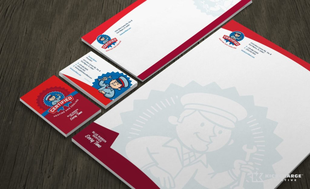 Stationery design for Certified Heating & Cooling, an HVAC company in Florida.