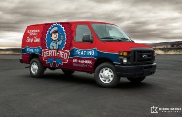Vehicle wrap design for Certified Heating and Cooling, a HVAC company in Naples and Fort Myers, Florida.