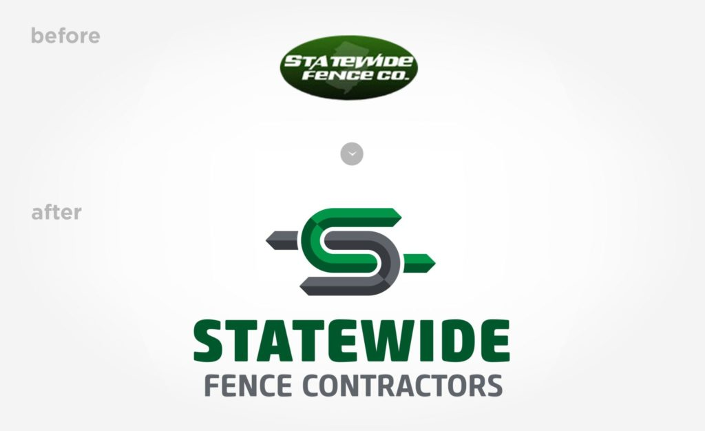 Before & after logo design for Statewide Fence Contractors.
