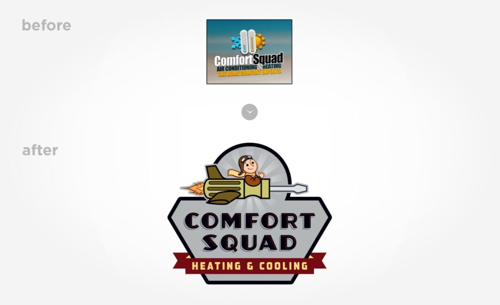 Before & after example of a logo re-design for Comfort Squad.