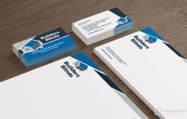 Stationery design for Builders Blinds, a commercial contractor in Florida.