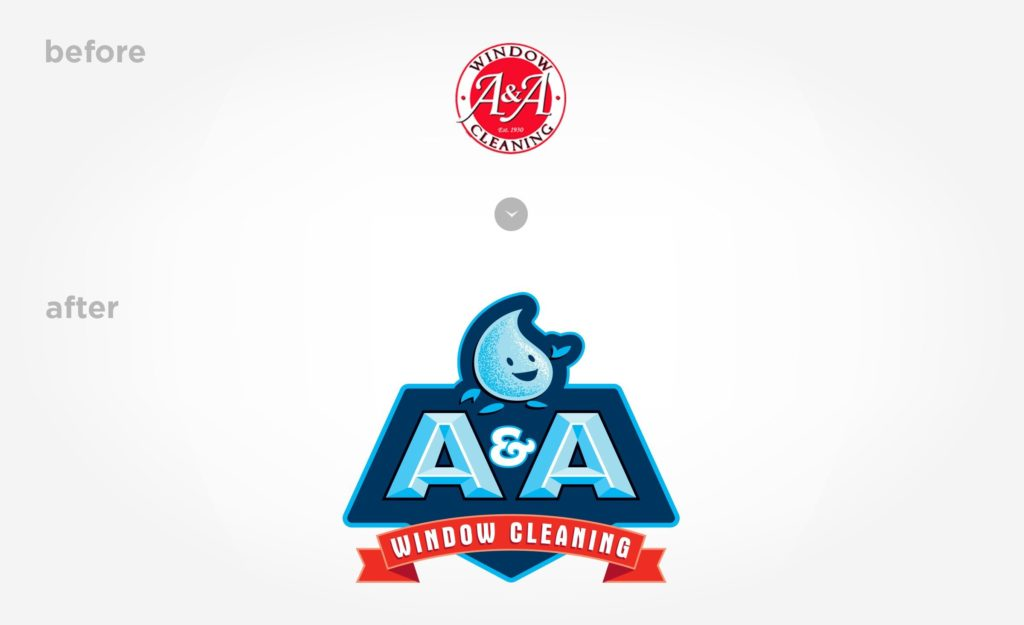 Before & after logo design for A&A Window Cleaning.