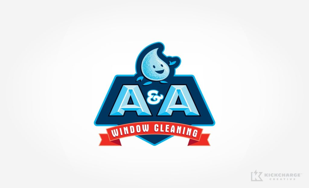 This for a window cleaning company based in Warwick, RI features a water droplet mascot.