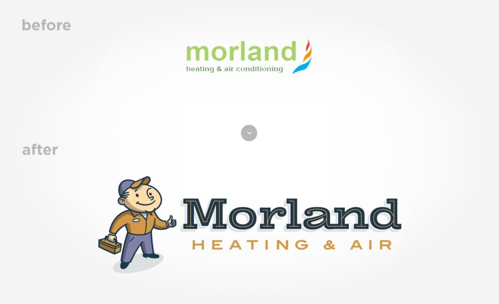 Before & after logo re-design for Morland Heating & Air.