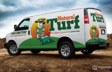 Vehicle wrap design for Natural Turf.