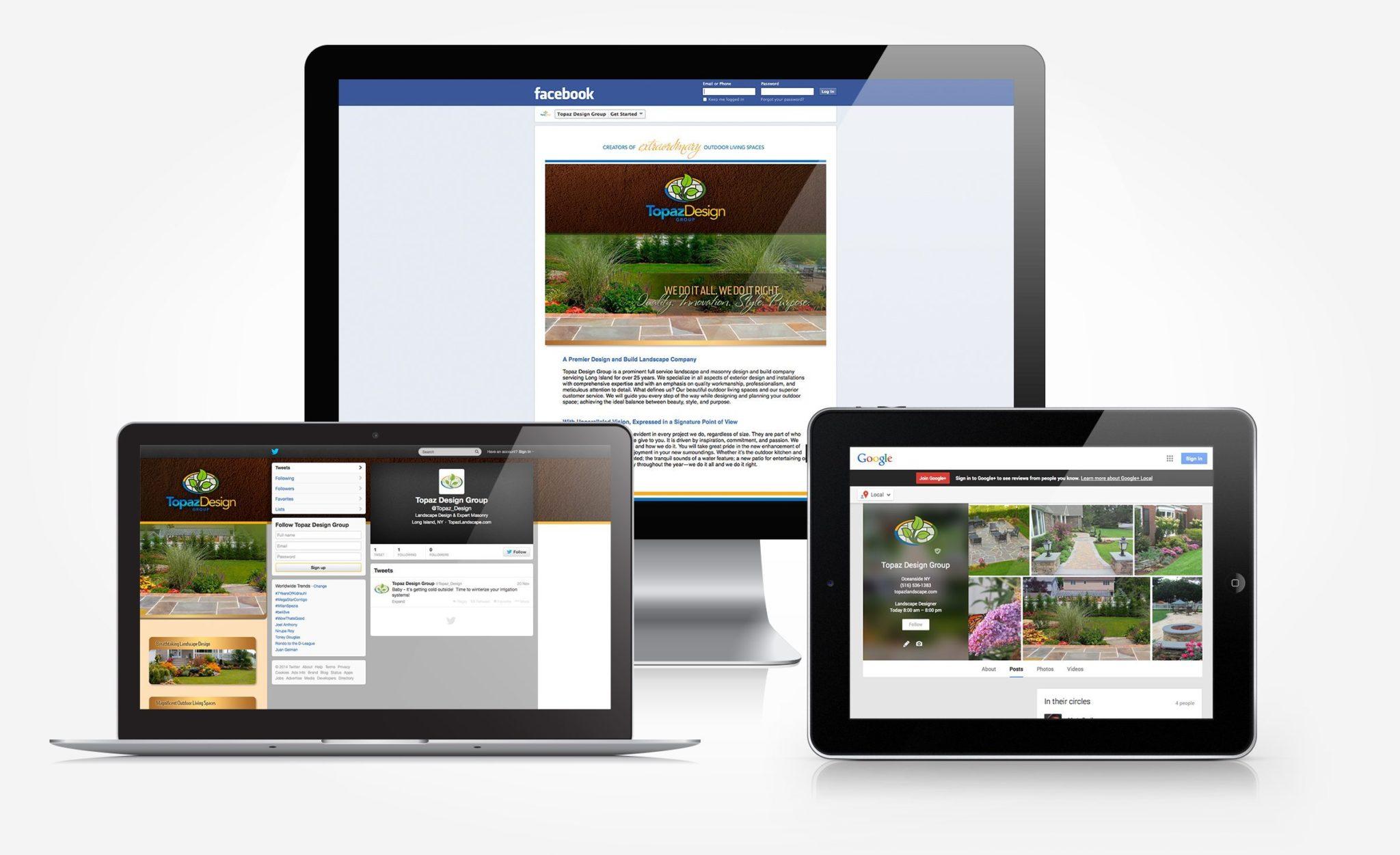 Social media designs for Topaz Landscape Design.