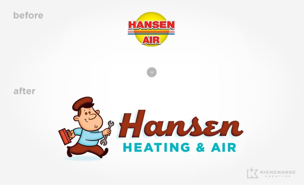 Before & after logo design for Hansen Heating & Air.