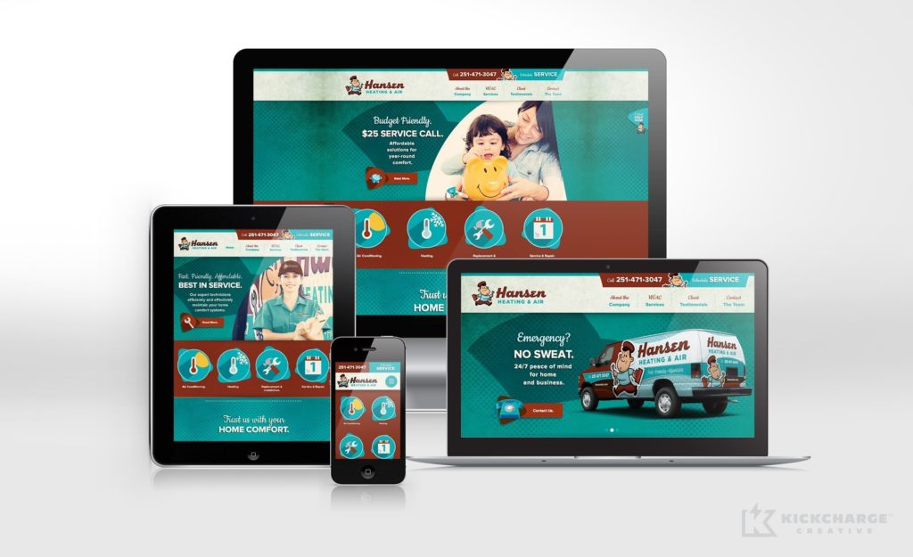 Website design for Hansen Air Heating & Air, an HVAC company in Alabama.