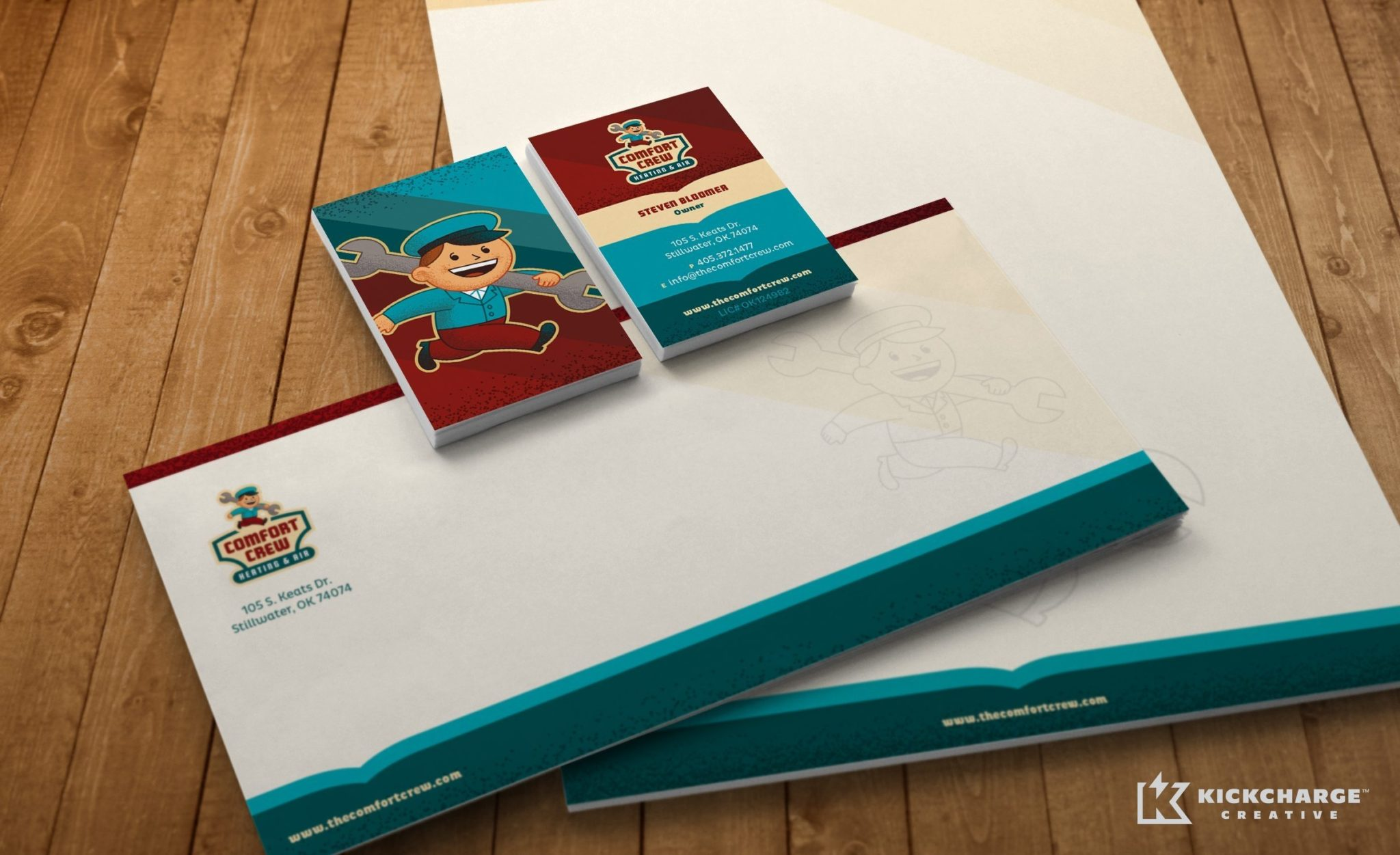 Retro stationery design for a heating and air conditioning company.