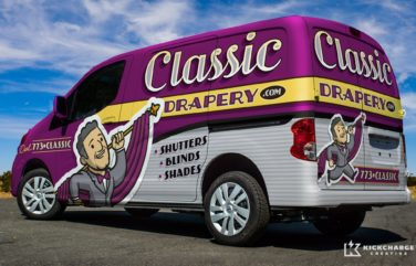 One of our best truck wraps utilizing a new retro brand, custom, hand-drawn artwork and type for this Chicago based drapery company.