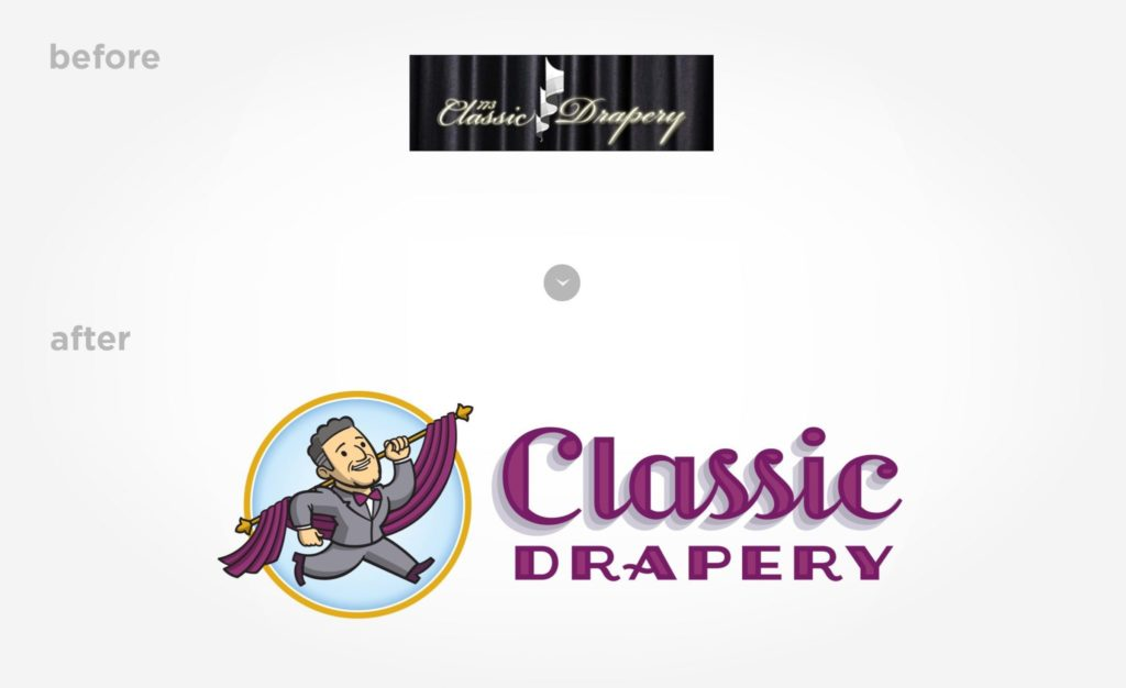 Before & after logo re-design for Classic Drapery.