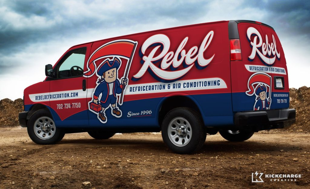New retro logo design and truck wrap design for a HVAC and refrigeration company in Las Vegas, NV.