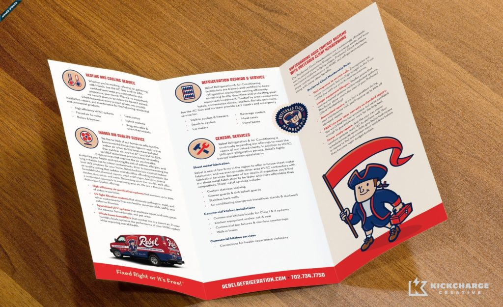 Award winning trifold brochure design for an HVAC and refrigeration company in Las Vegas, NV. Winner of Collateral/All Printed Materials Rack Brochure, color in the 2014 NJ Ad Club Jersey Awards.
