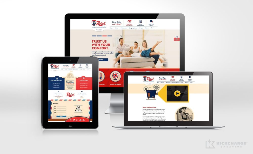 Website design for Rebel Refrigeration & Air Conditioning, a heating and air conditioning company in Las Vegas, NV.