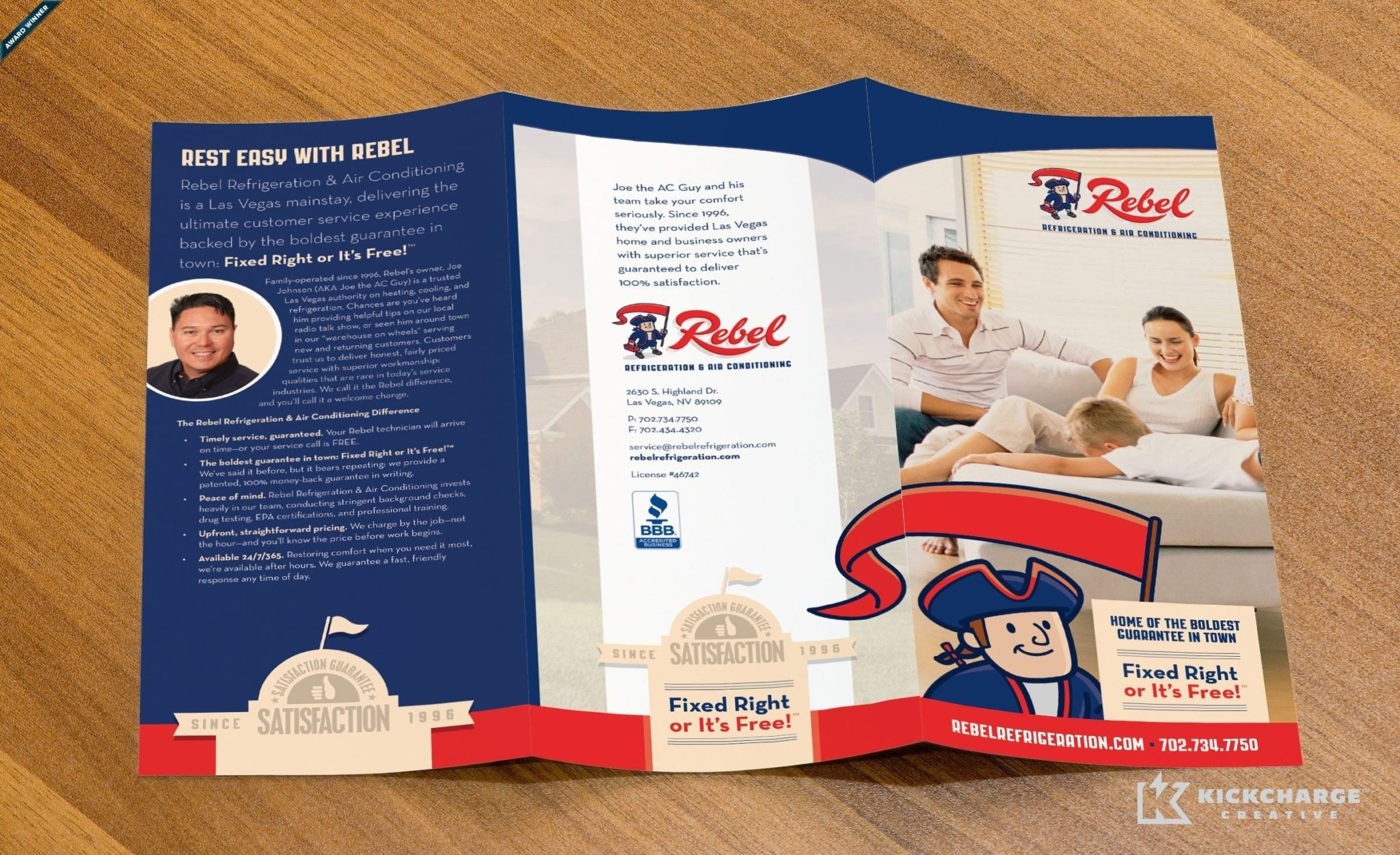 Trifold brochure design for an HVAC and refrigeration company in Las Vegas, NV.
