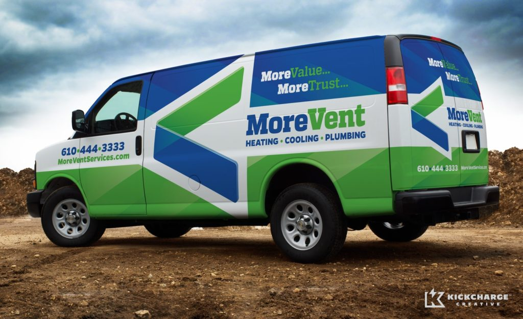 Logo design, fleet branding, and tagline development for a new heating and air conditioning company in Pennsylvania.
