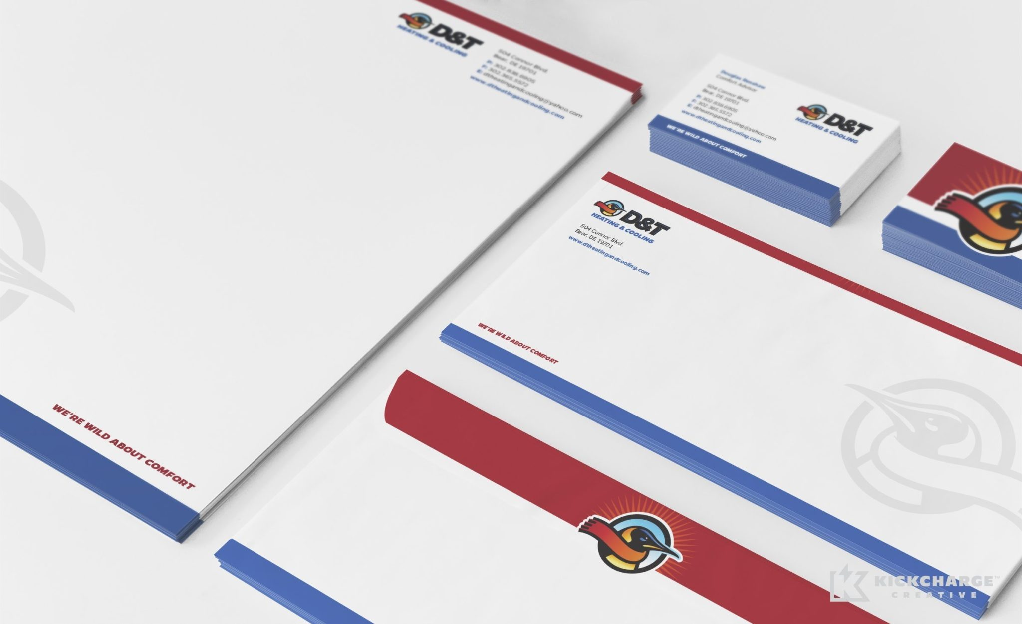 Stationery design for a HVAC company in Delaware.