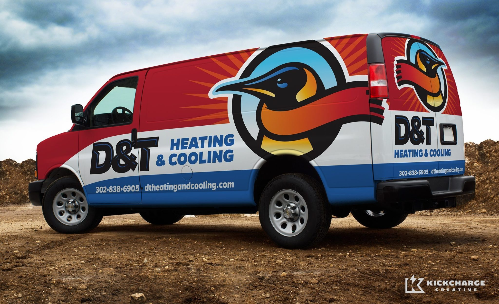 Vehicle wrap design for a HVAC company in Delaware.