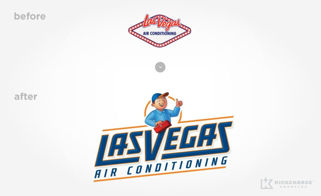 Before & after logo re-design for Las Vegas Air Conditioning.