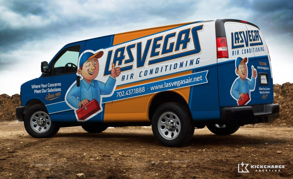 After designing their logo, we tackled the truck wrap design and fleet branding integration for this HVAC company in Las Vegas, NV.