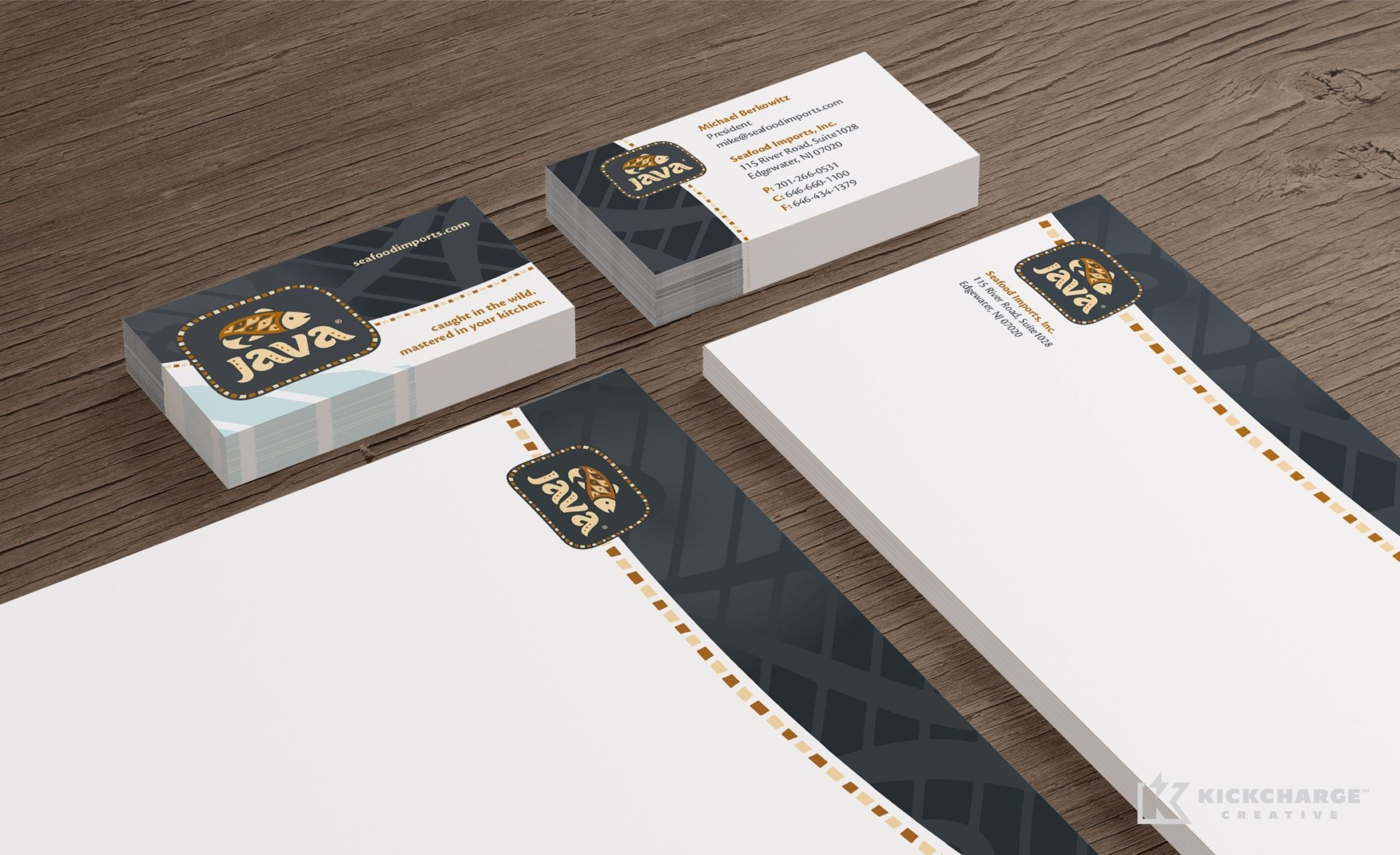 Stationery design for importer and distributor of specialty seafood products, located in New Jersey.
