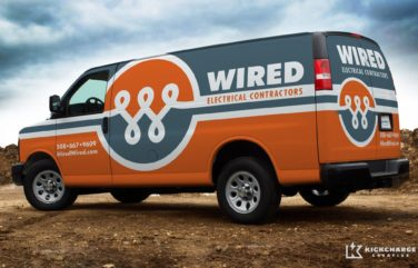 Vehicle wrap design and corporate identity for an electrician in MA.