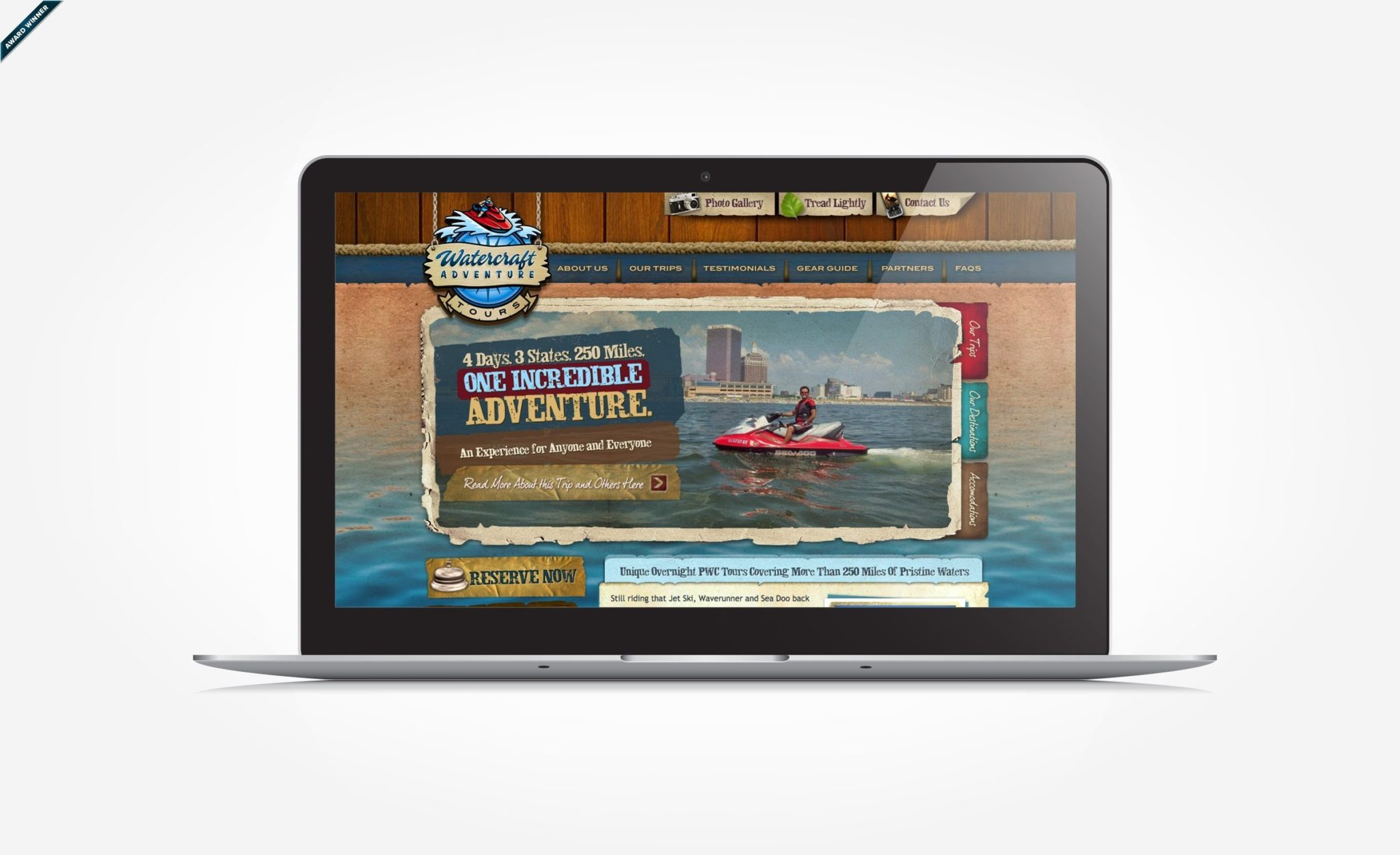 Web design for a watercraft adventure tour based out of NJ.