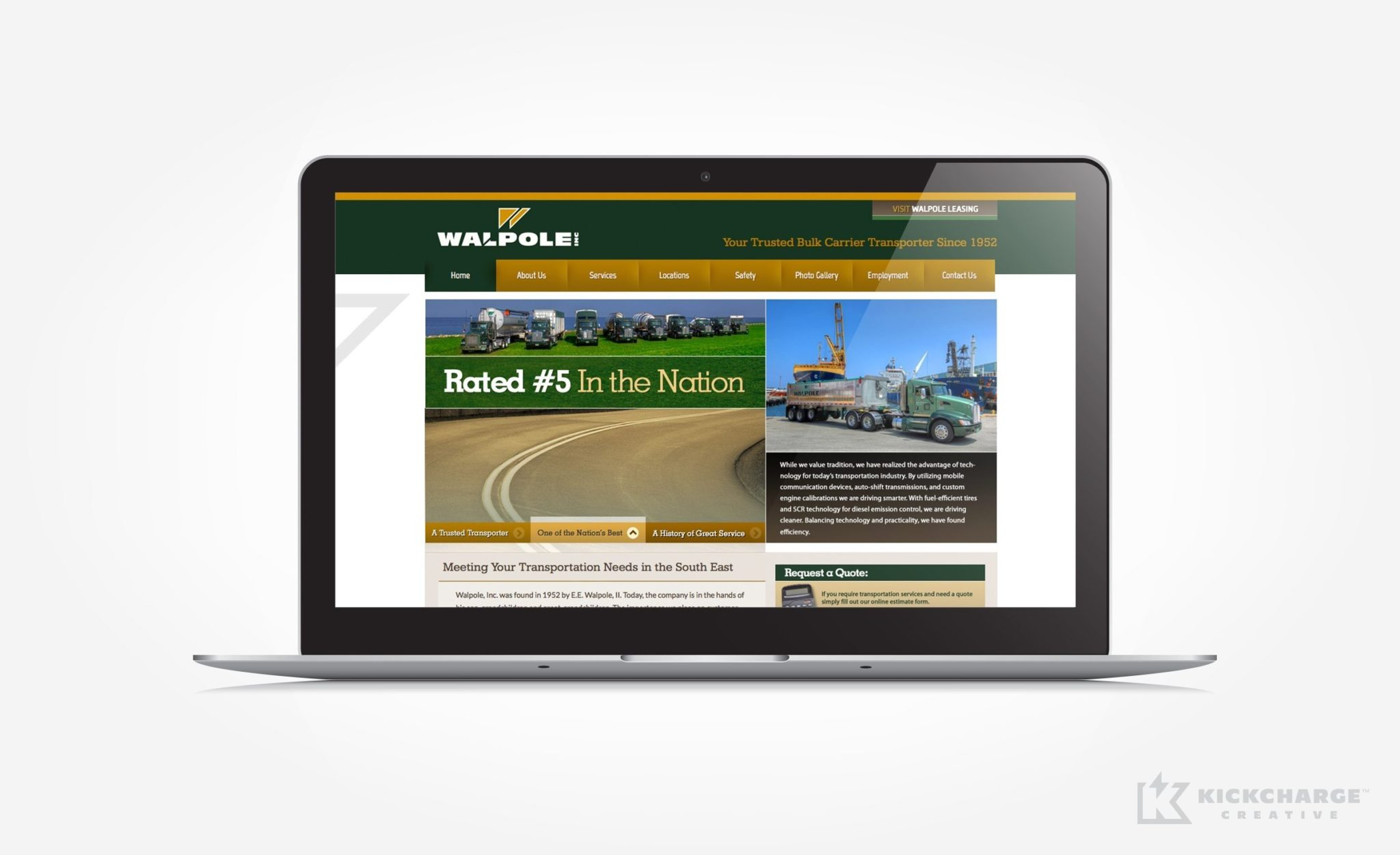Website design for a trusted bulk carrier transporter.