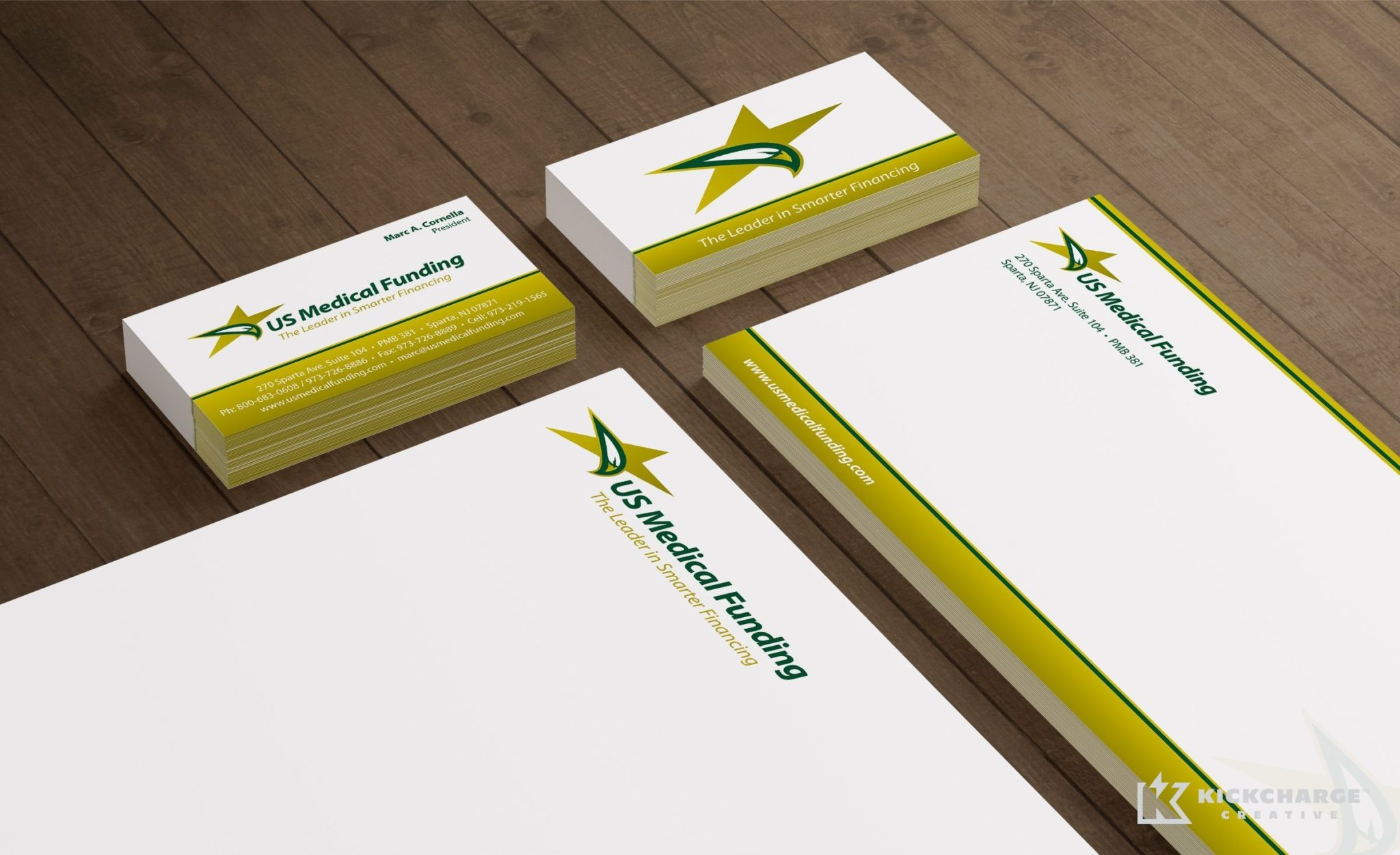 Stationery design for an NJ-based medical funding company.