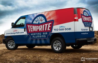 A vehicle wrap design for a heating and air conditioning contractor in Las Vegas.