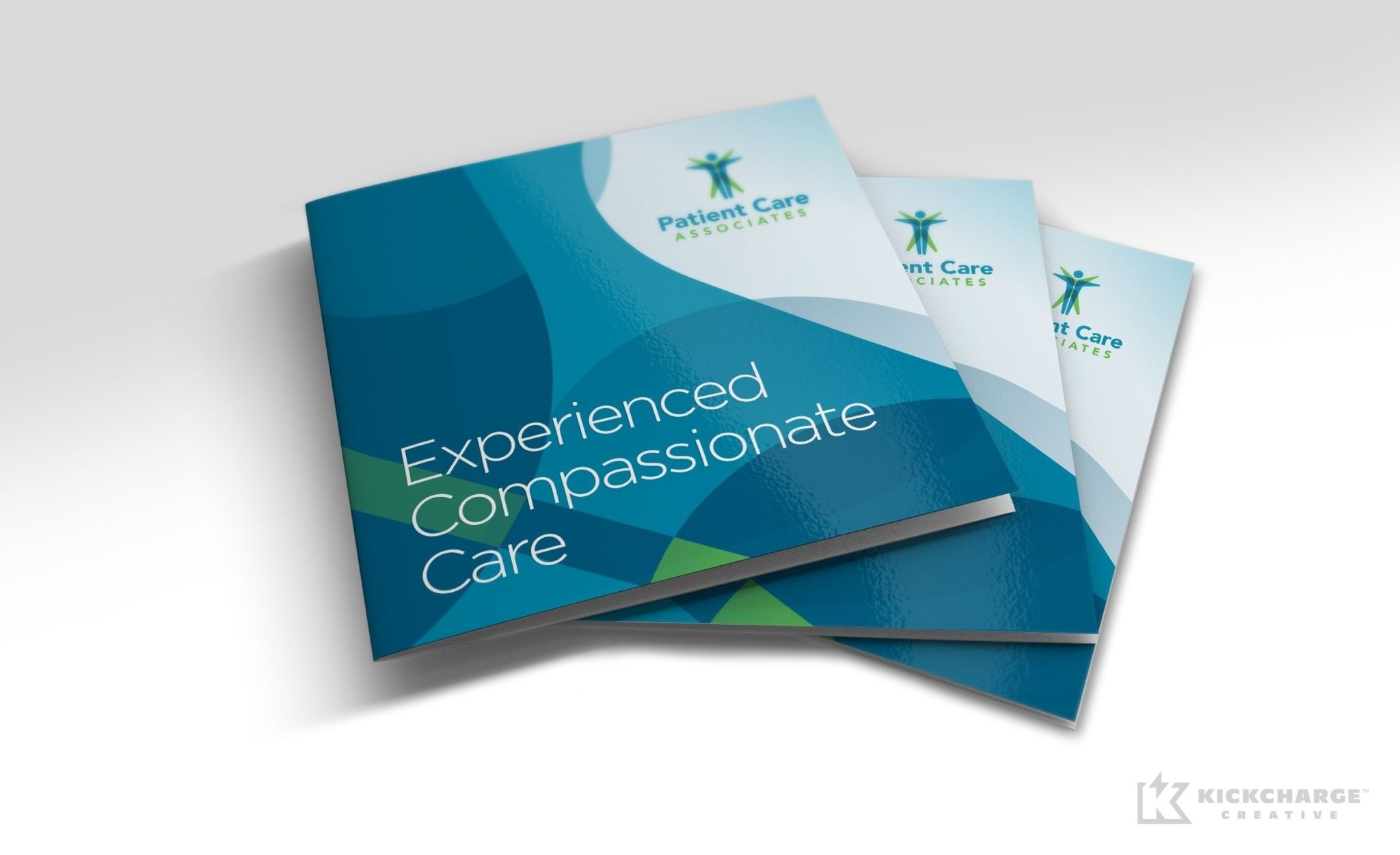 Multipage square booklet brochure design for Patient Care Associates, a surgical center in Engelwood, New Jersey.
