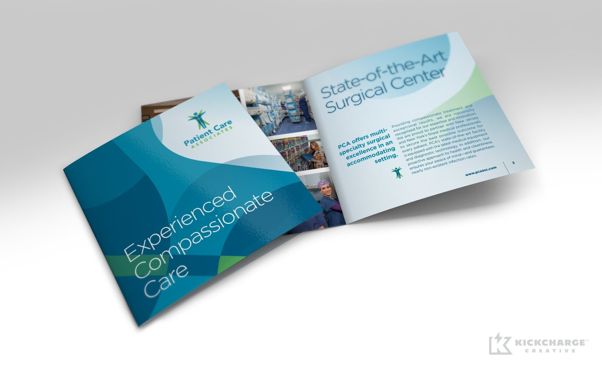 Multipage square booklet brochure design for Patient Care Associates, a surgical center in Englewood, New Jersey.
