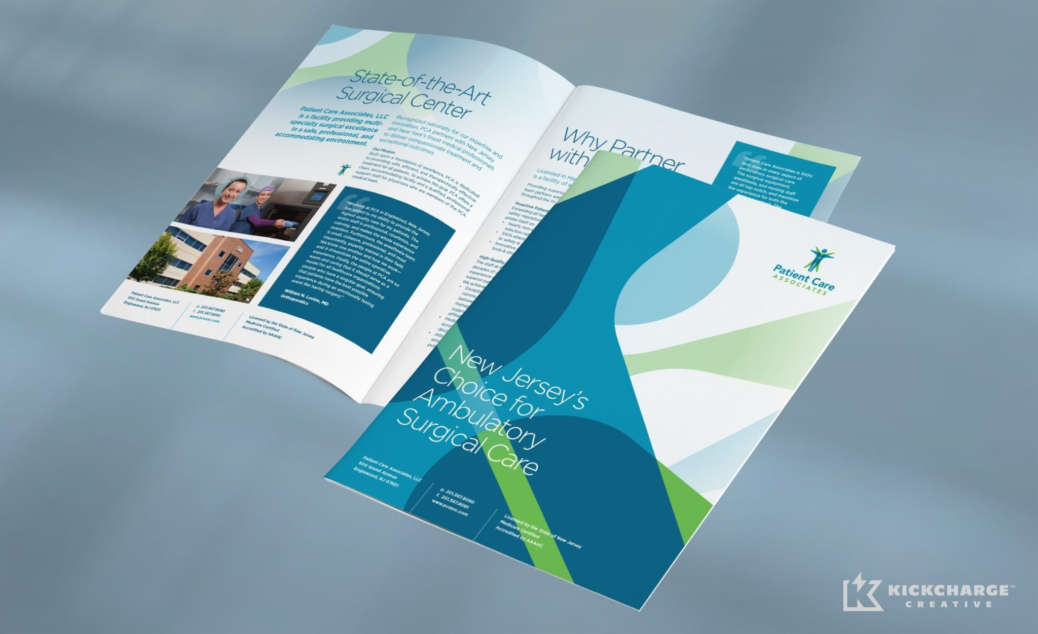 Brochure design for Patient Care Associates, a surgical center in Englewood, New Jersey.