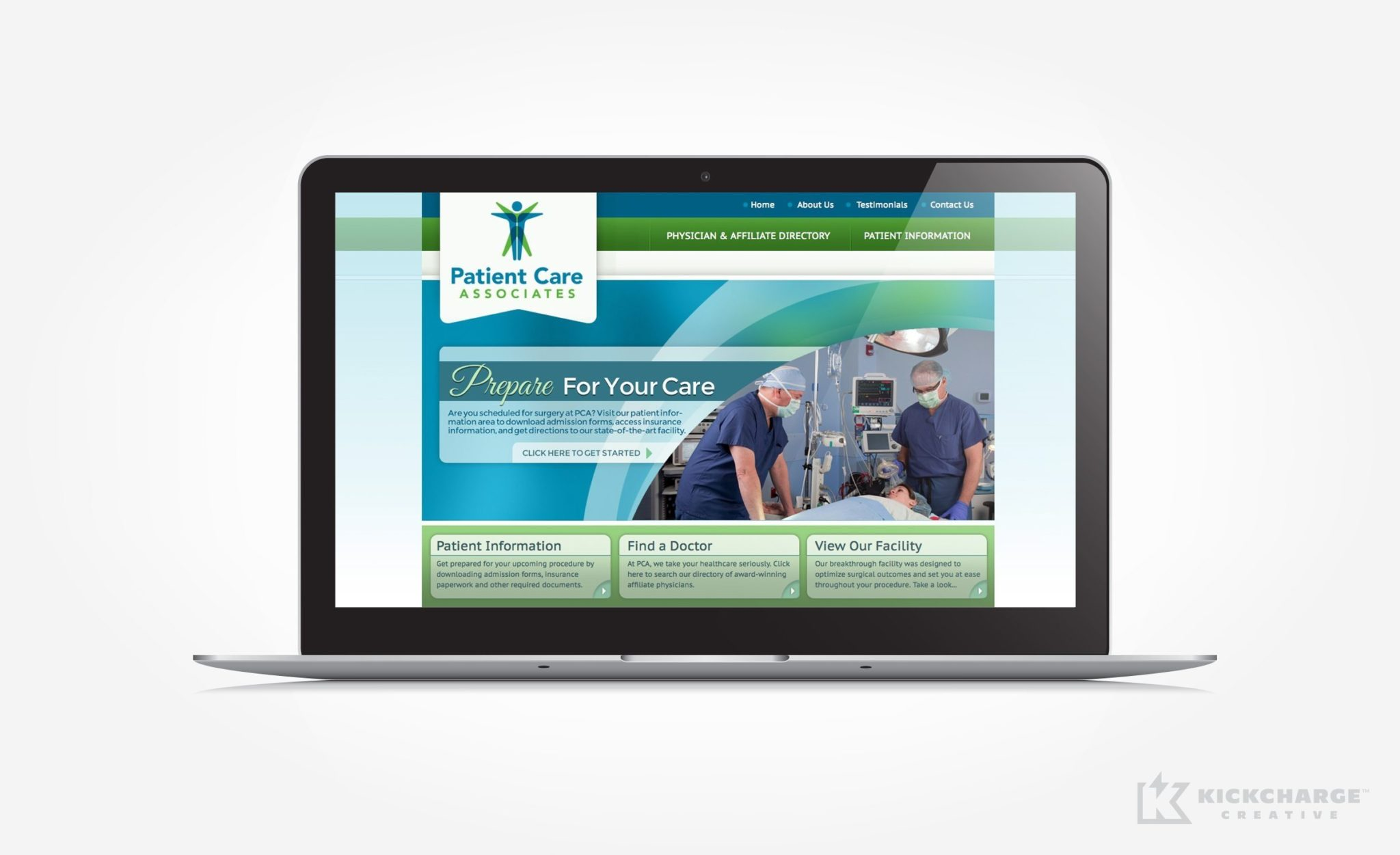 Website design for Patient Care Associates.