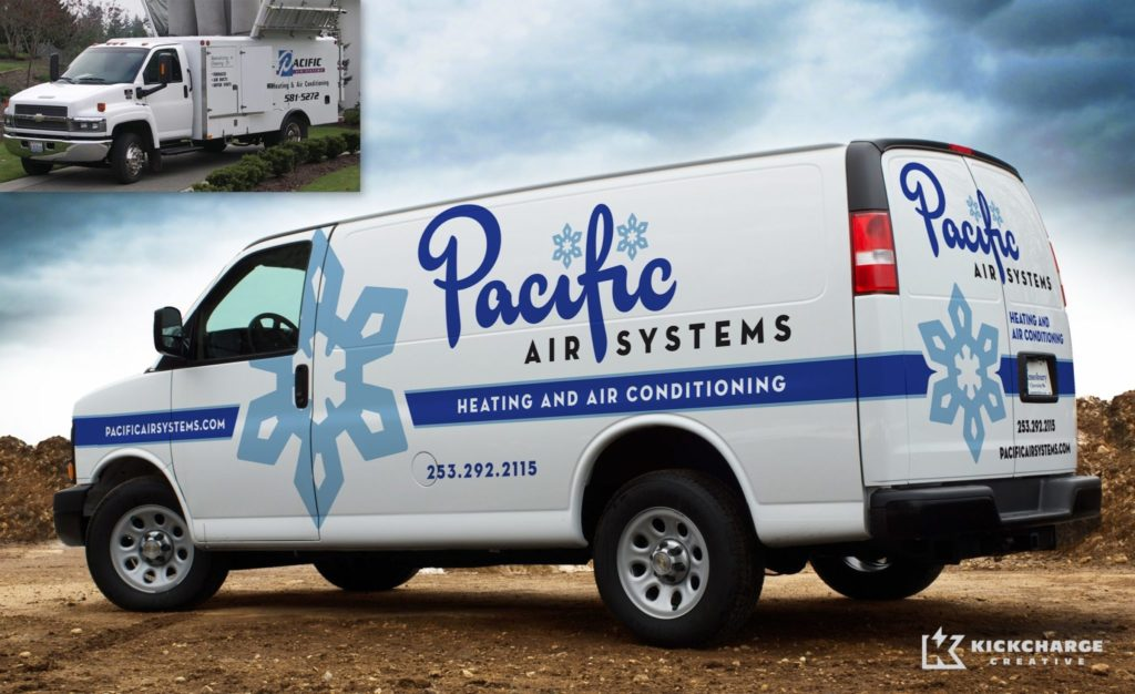 Before & after 2013 Winner for best fleet branding for an HVAC business.