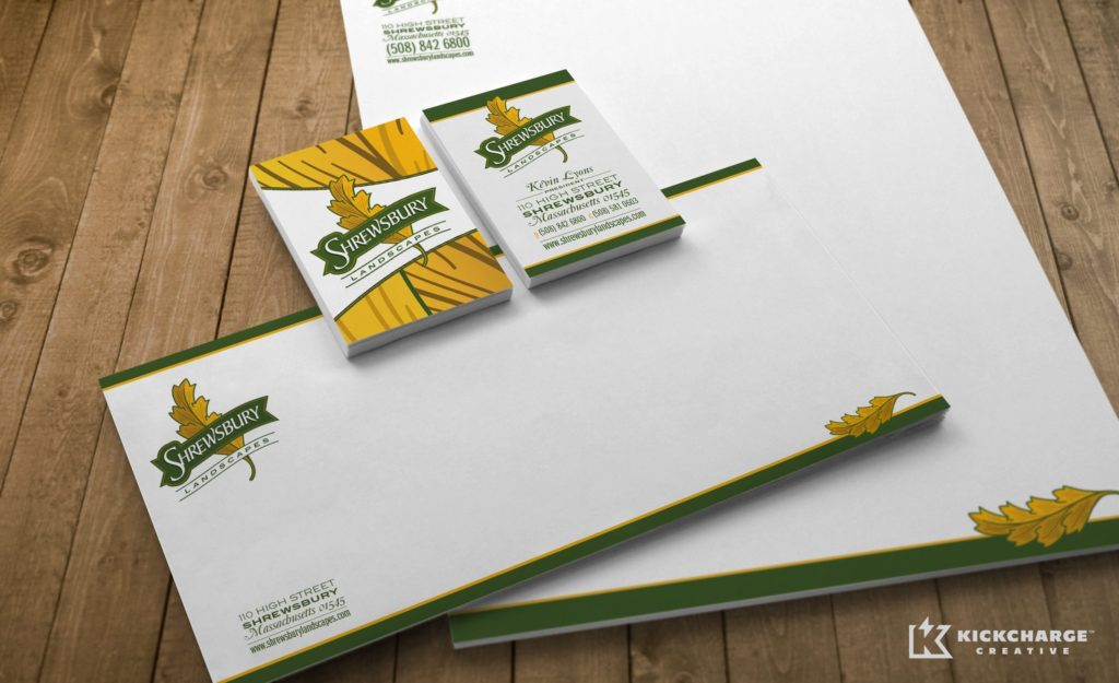 Stationery design for a landscape company in Shrewsbury, MA.