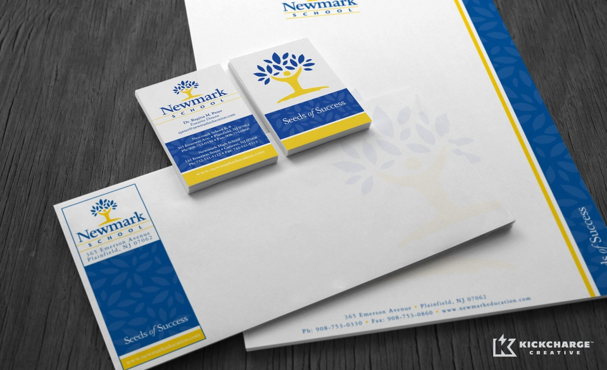 Stationery design for Newmark Schools.