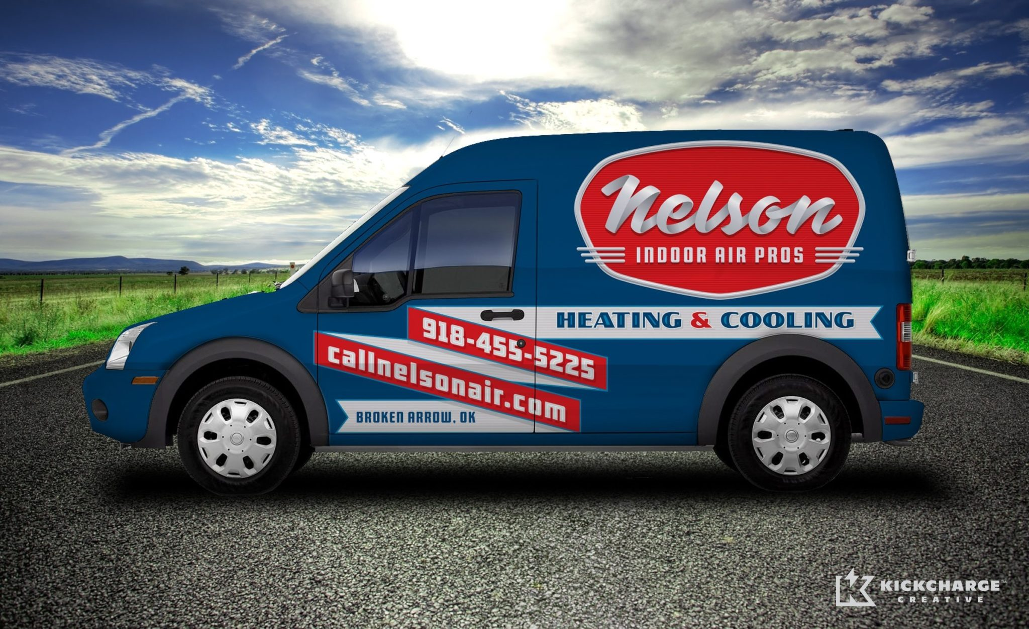 HVAC branding and truck wrap design for HVAC company in Oklahoma.